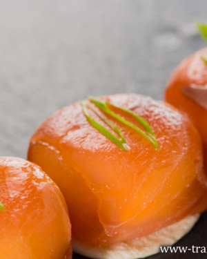 Canapes with smoked salmon and cream cheese. Close-up