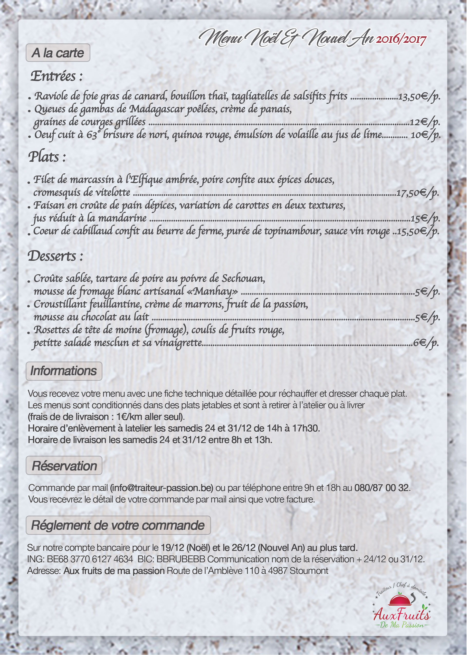 Menu A la Carte - Noël/Nouvel An 2016/2017