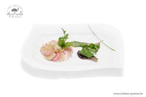 Carpaccio de noix de st-Jaques aux agrumes, Pétale de betterave Chioggia