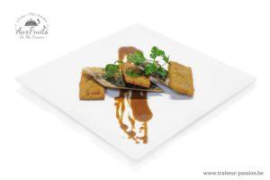 Filet de maquereau poêlé, galette de salsifis Réduction de jus de veau légèrement chocolatée